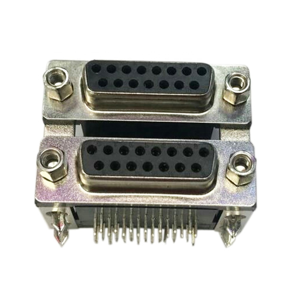 Male Connector VGA DB15 Female Connector db15 Position connector 2 rows D-Sub female right angel through <strong>hole</strong> with screw pcb