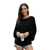 Boat Collar Bat Sleeve Loose Comfortable Fashion Womens Knit Sweater