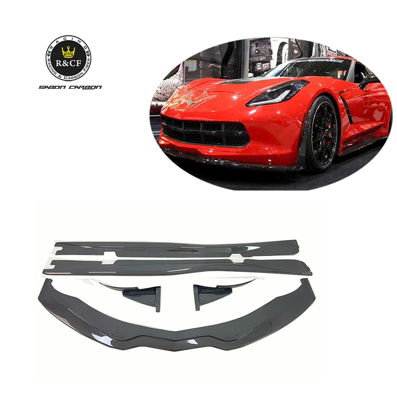For 14-19 Corvette C7 <strong>Z06</strong> STG 3 style Front Lip Winglets Side Skirts Body kit