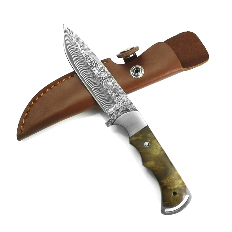 High quality 67 layer damascus fixed blade <strong>knife</strong> made damascus steel hunting <strong>knife</strong> and leather sheath