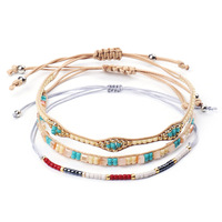 Woven Friendship Adjustable Boho Seed Beads Waterproof String Ocean Surfer Wrist Cord Bracelet for Women