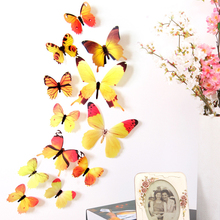 12pcs/bag PVC 3D DIY Butterfly <strong>Wall</strong> Stickers Home <strong>Decors</strong> Kids Baby Room Kitchen <strong>Bathroom</strong> Fridge Adhesive <strong>Wall</strong> Decals <strong>Decorations</strong>