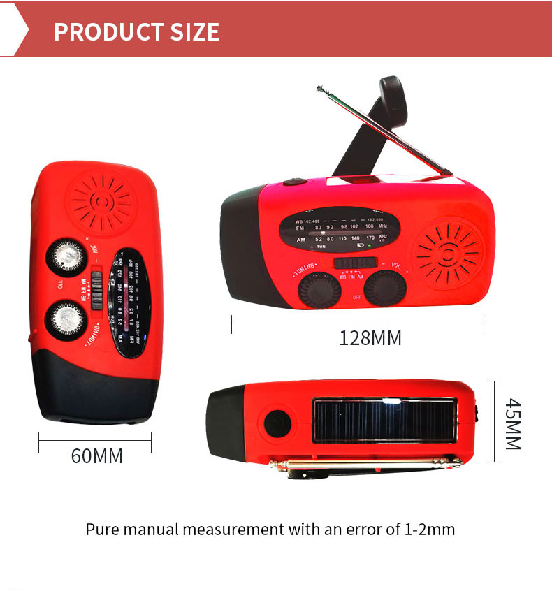 Disaster Resistance Emergency Mini Portable Hand Crank AM/FM Solar Crank Radio With LED Flashlight USB Charger Power Bank