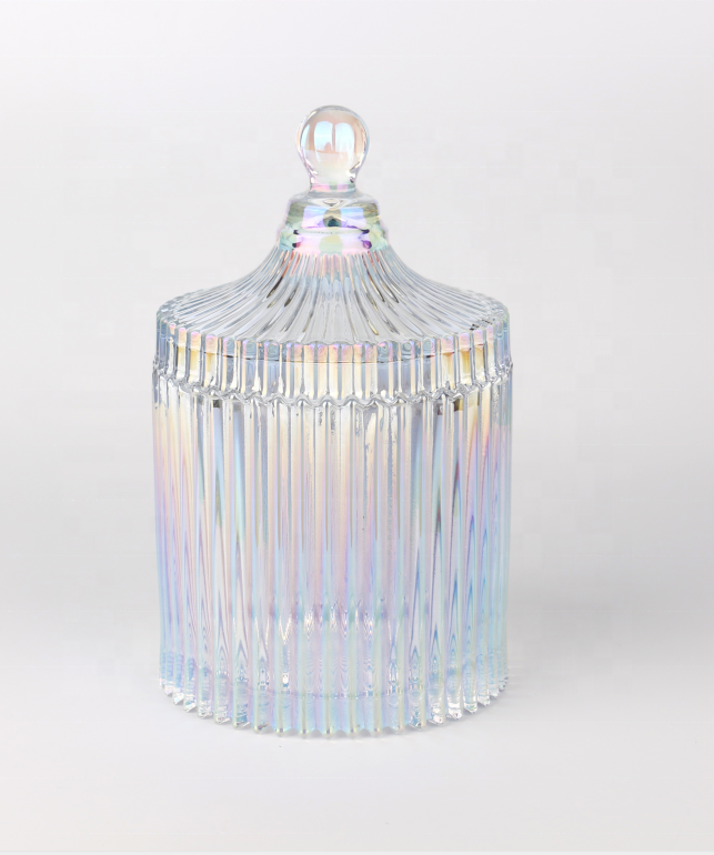 Luxury Iridescent Candle Jar Empty Plated Dazzle Coloured Glass Candles Jars With Lid For Soy Wax