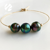 natural color tahitian pearl bracelet with 18K yellow gold women fashionable design