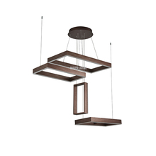latest design brown hanging acrylic parts modern industrial restaurant chain rectangular chandelier for dinning room
