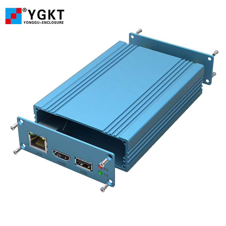 Yonggu <strong>J22</strong> 82.8-28.8mm Customized Anodized Blue Sandblast Aluminum Connection Battery Box Enclosure for PCB
