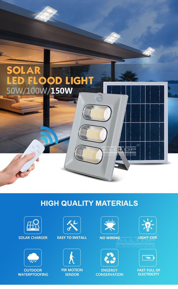 ALLTOP High efficiency IP66 outdoor waterproof 50w 100w 150w led solar flood light