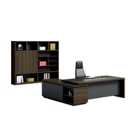 Pengpai Luxury Dark Color L Shape Executive Table Office Desk For Boss Room