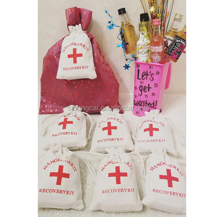 Hangover Survival Kit Cotton Linen Bags First Aid Party Storage Supply Emergency Kits Household Bags Commonly Used
