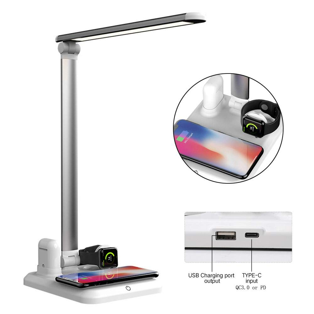 free amazon label service <strong>provided</strong> full LED Table Lamp 4 in 1 Qi Wireless Charger Multi-Function 10W Table Lamp Eye Table Lamp f
