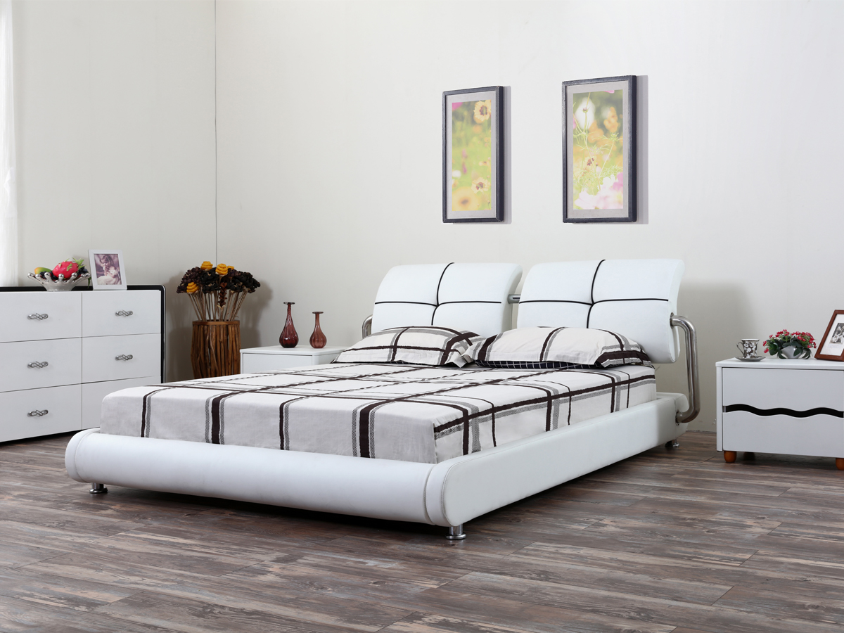 Home furniture nice design leather bed for sale G1162
