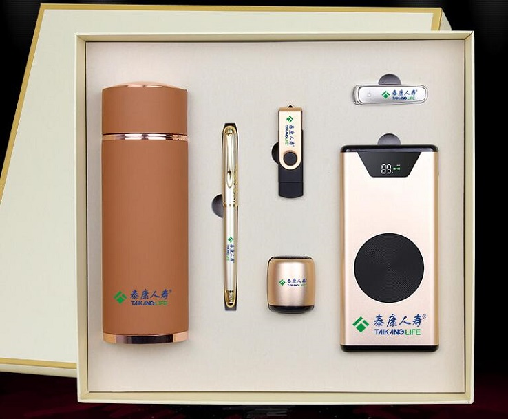 6 in 1 Business Gift Set Luxury  ,  Promotion Corporate Gift Set 2019 with Speaker Vacuum Cup Wireless Charger Power Bank