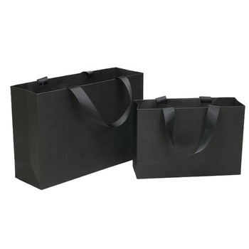Luxury Black Gift Paper Bag Custom Made Printed Logo Jewelry Packaging Kraft Shopping Paper Bag With Ribbon Handles