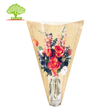 V shape auto machine made kraft paper flower sleeve with clear PLA