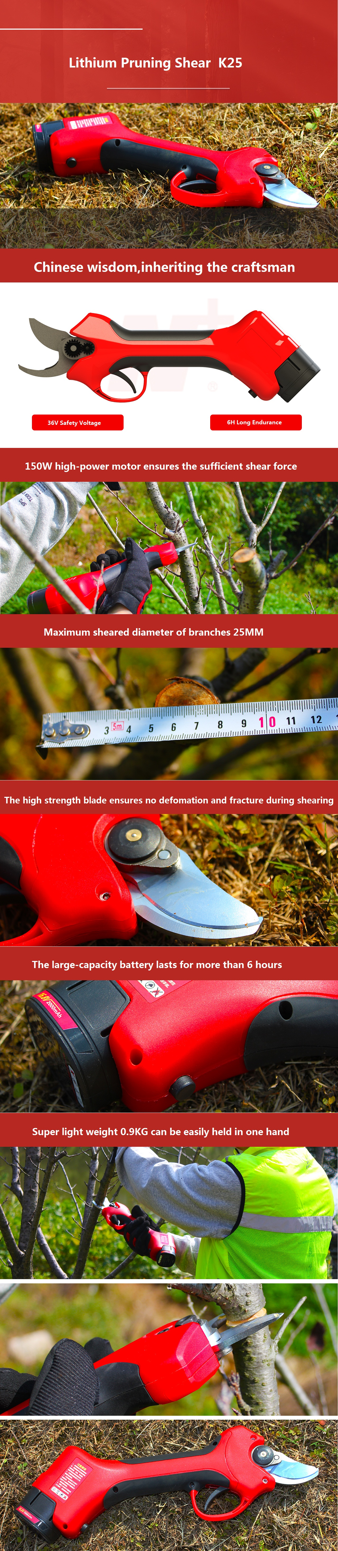 high quality 16.8V Lithium Electric Scissors for Garden Cordless Fruit Tree Pruning