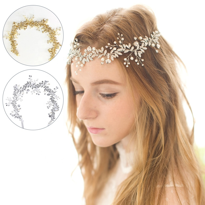2020 Latest Design Crystal Pearl Head Wedding <strong>Hair</strong> <strong>Accessories</strong> Bridal Flowers <strong>Hair</strong> band