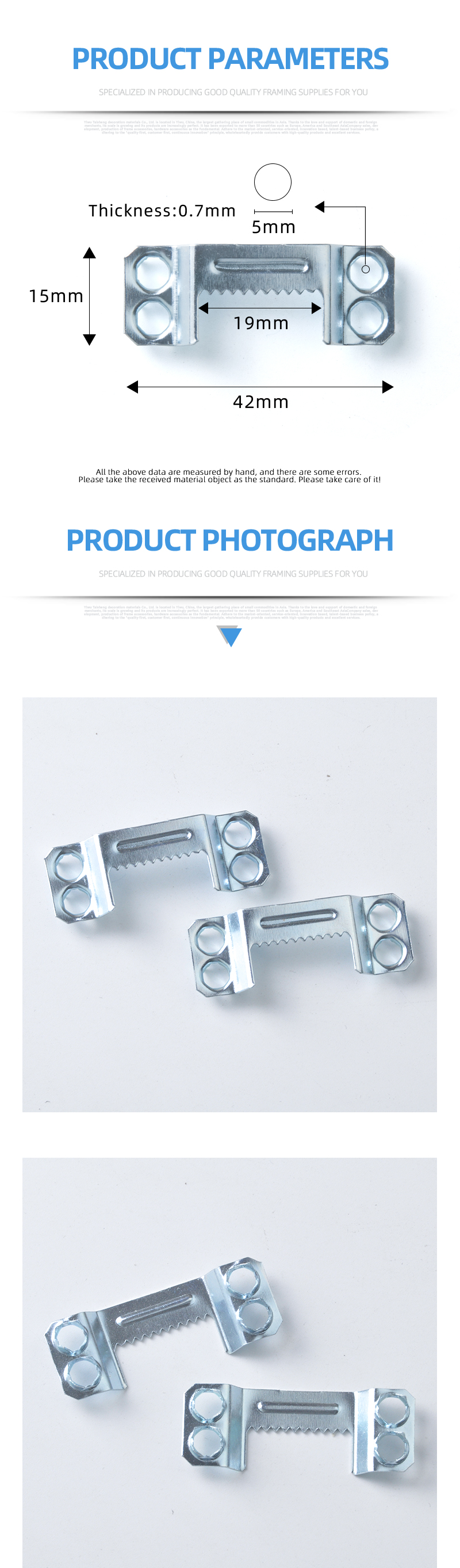Blue zinc-plated alligator hooks Suspension fittings
