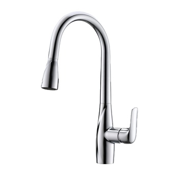 High Quality Water Brass Chrome Plated Kitchen Gooseneck Sink Faucet Tap