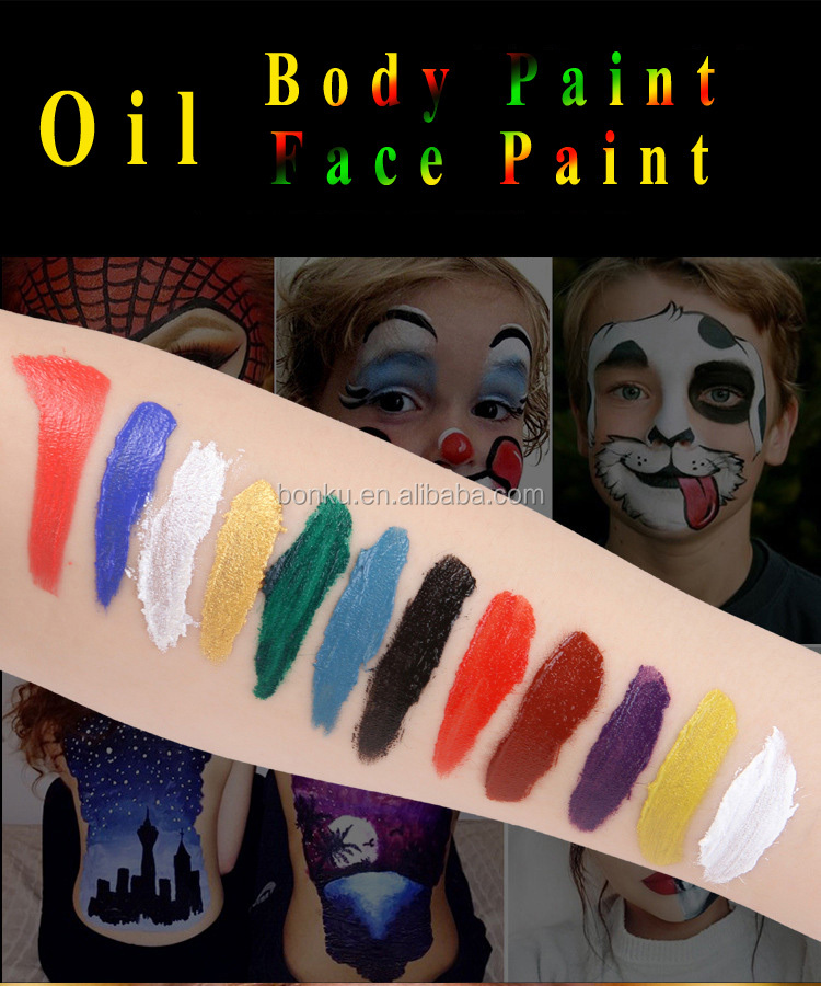 Halloween Carnival Fancy Dress Party face paint Makeup kits 12 colors body Face painting