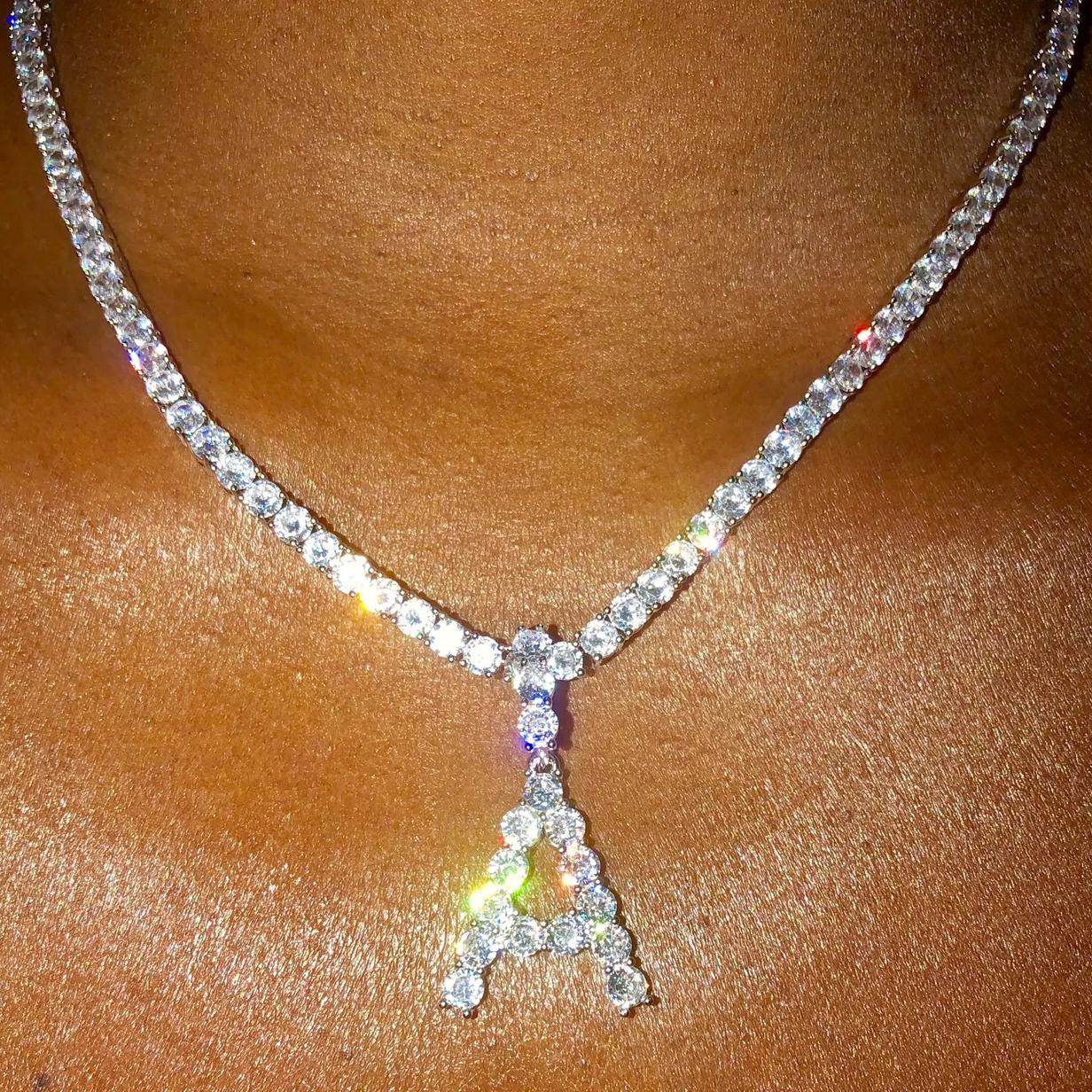 Mode 26 Buchstaben Alphabet Halskette Kristall Zirkonia Anhänger Frauen Schmuck