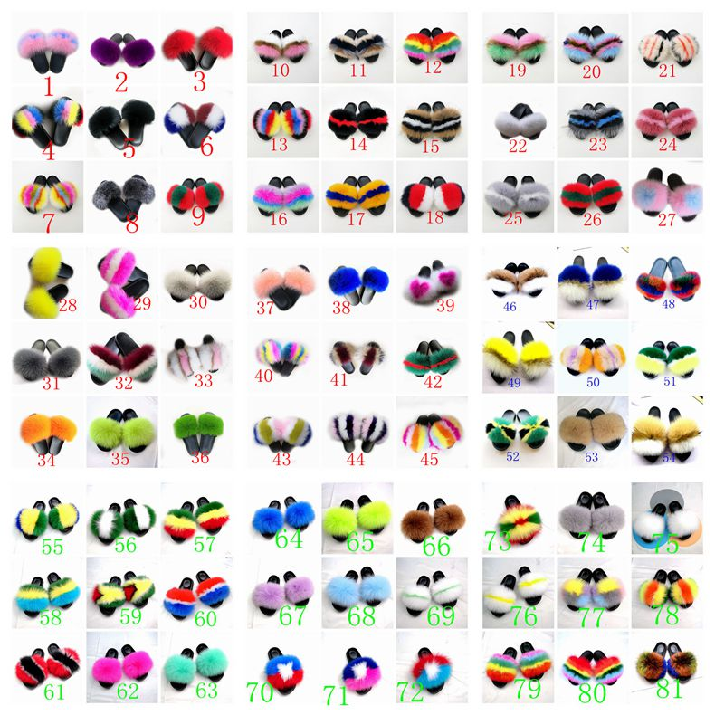 Perfect Wholesale Fashionable Women fur Slippers  slides fur with logo customized