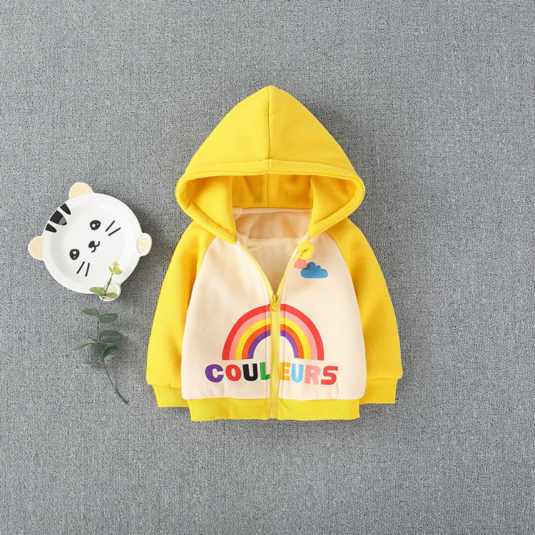 2019 latest baby girl fashion rainbow color warm wet coat for spring and autumn wear