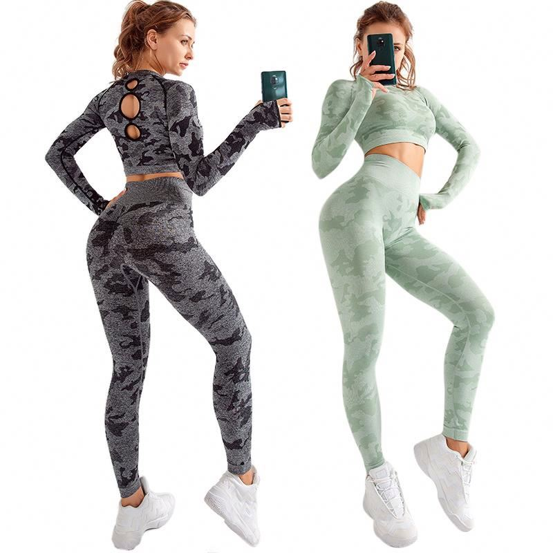 Leggings And Bras Long Sleeves Set <strong>Sports</strong> Seamless