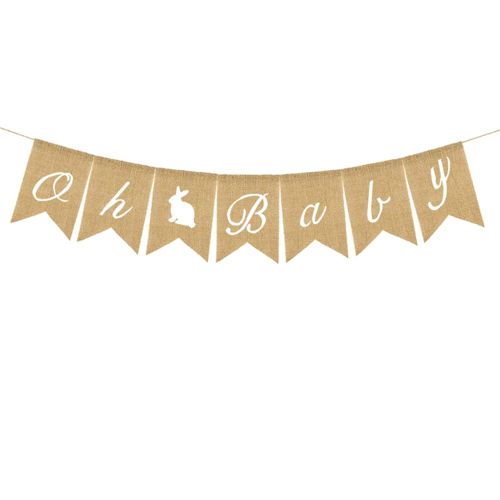 Easter boy and girl baby's first birthday party flag Oh <strong>rabbit</strong> baby linen swallow tail flag