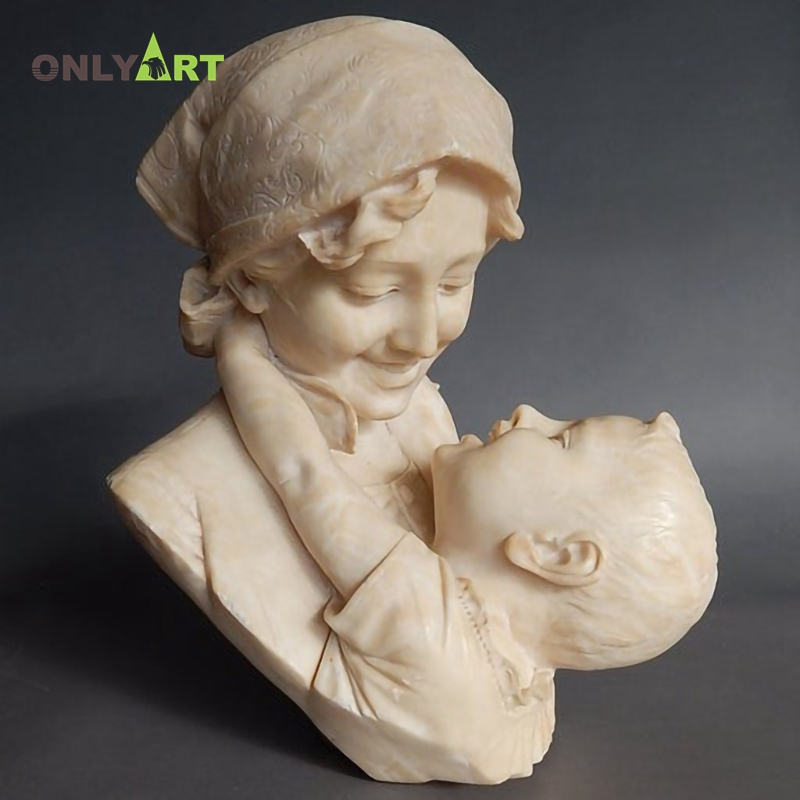 Customized Marble Mother Held The Baby Smile Bust Statue