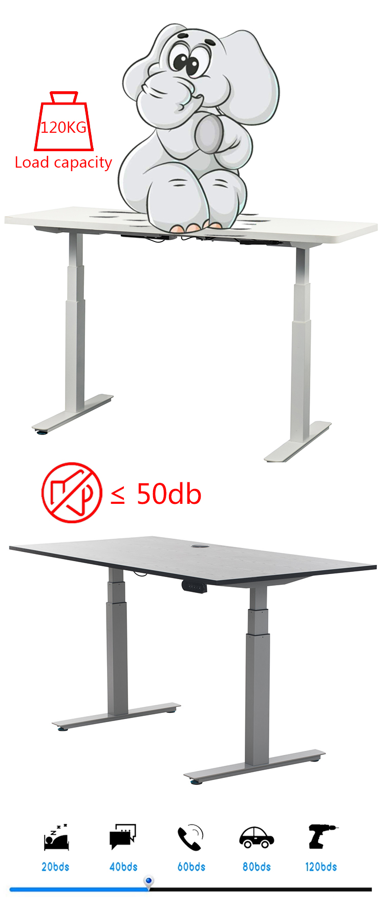 HDR-UD1 modern office furniture adjustable desk double motor office desk table