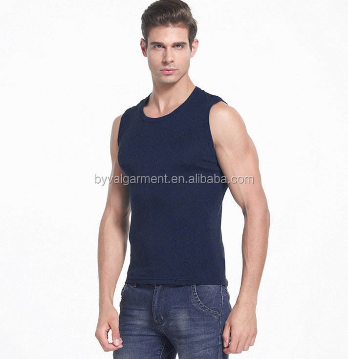 Byval Rib fabric plain tank top men summer solid men gym tank tops