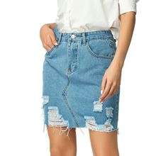 Wholesale High Waist Ripped Denim Jeans Women Mini Half-length <strong>Skirt</strong> With Distressed Blue Wash