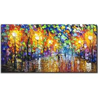 Handmade Painting 3D Knife Oil Paintings Contemporary Romantic Lovers in Rain Landscape Art Painting Night Artwork