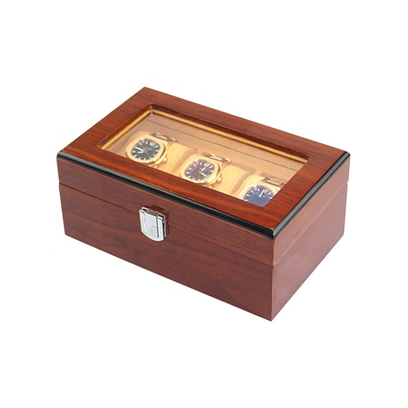 Luxury lining three watches dark wood watch case with glass cover