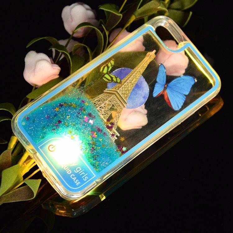 Cute Style Soft Plastic Quicksand inside Liquid Phone Case for iphone 7