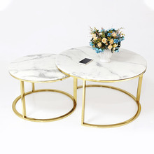 White marble top center <strong>table</strong> gold stainless steel coffee <strong>table</strong>