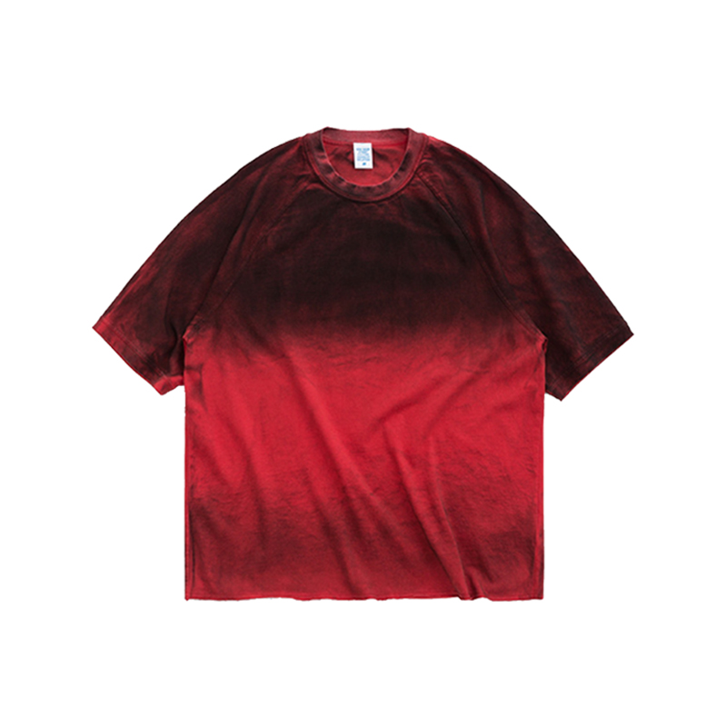 Streetwear Men Tie-dye Tshirts Gradual Change Boys Tee Embroidery <strong>Logo</strong> Men Oversized Tshirt Cotton Male Tshirt