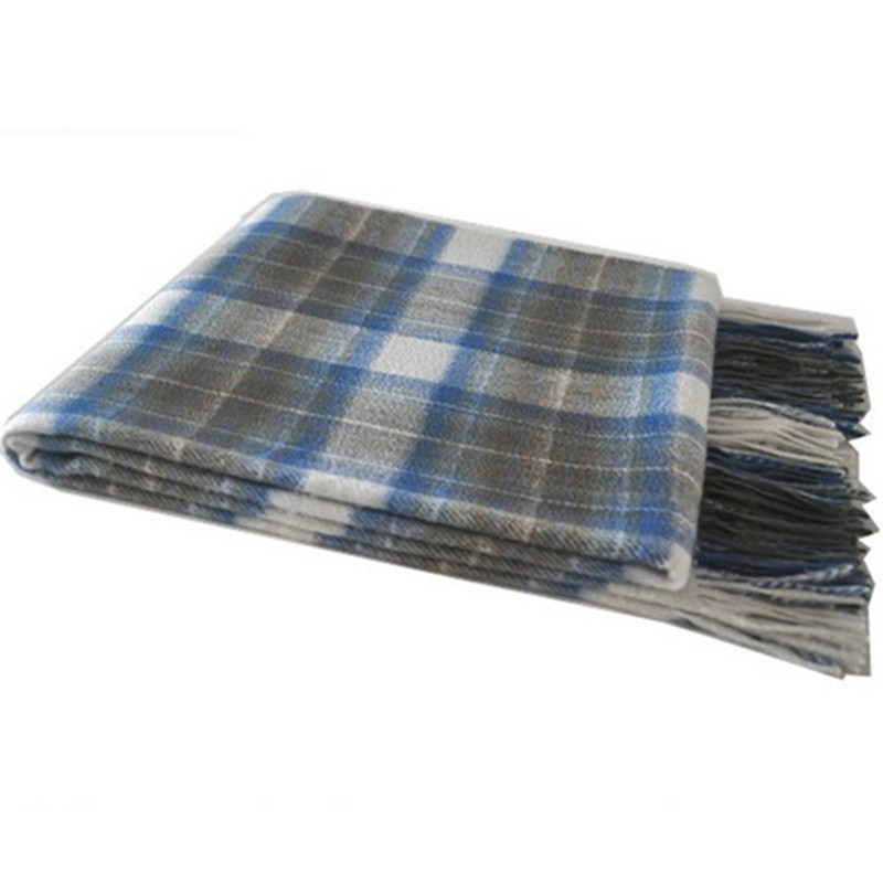 BLUE PHOENIX throw+blanket 80% wool 20% cashmere tartan <strong>plaid</strong> fluffy for sofa