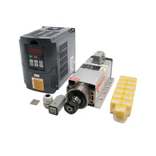 Free shipping 1 set 2.2 kw 220v/380v 300/400HZ 18000/24000RPM air cooled square spindle+HY VFD+ ER20 Collet for CNC router