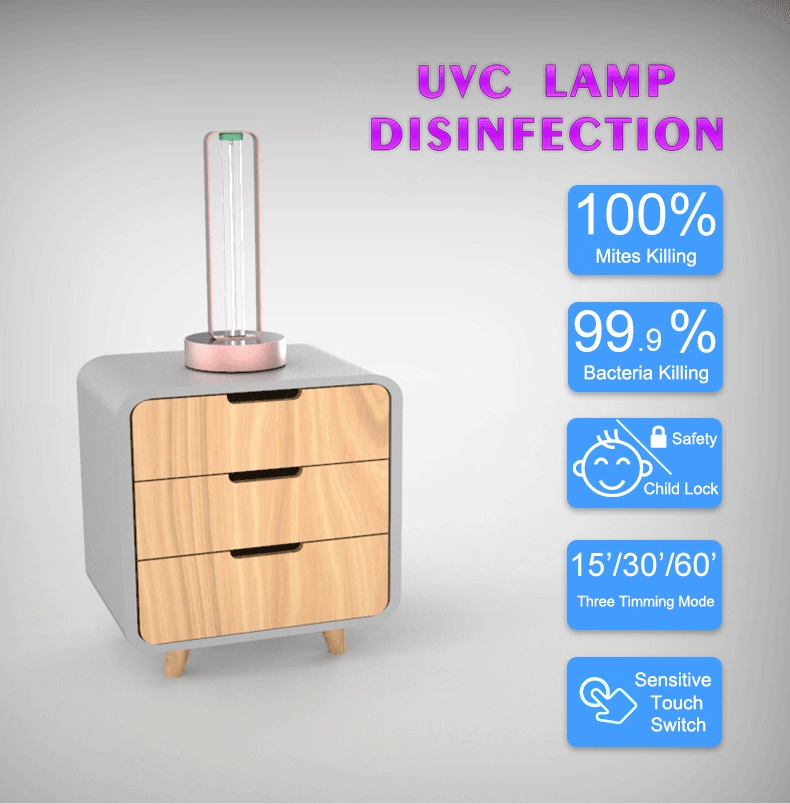 S3002 36W Household Portable Table Standing UV Ultraviolet Disinfection lamp