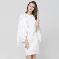 B61853A Suit sweater dress + long-sleeved casual coat two-piece set for women dress new fall 2019