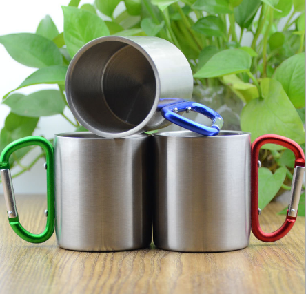 Promo custom Stainless Steel Mug with Carabiner Hook