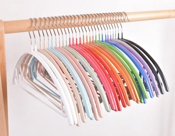 multifunctional traceless clothes hangers, plastic outside and metal inside