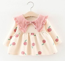 Kids Autumn Clothes Baby <strong>Girl's</strong> Korean <strong>Dress</strong> Apple Print Cotton Long Sleeve <strong>Dress</strong>