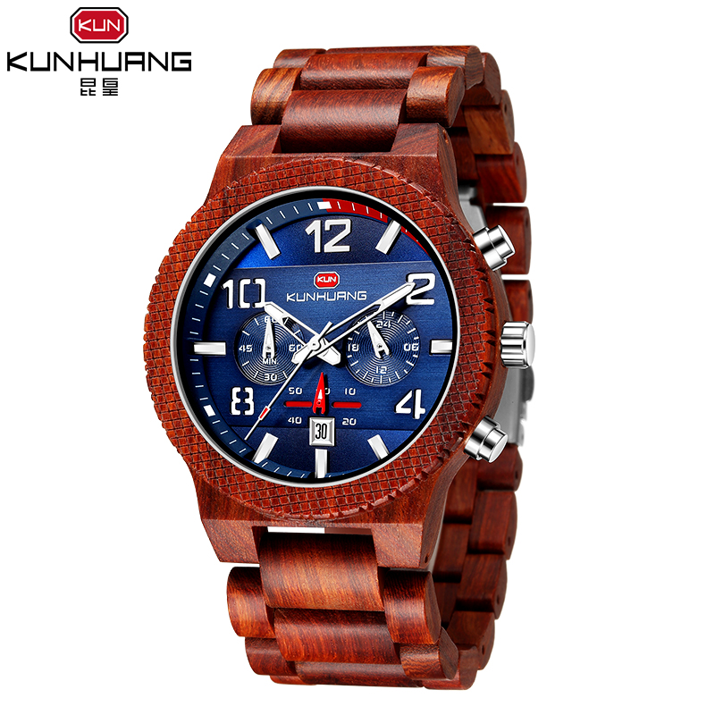 Special Kun Huang <strong>1015</strong> Unique Watch Big dial Daily Waterproof Wooden Strap Men's Quartz Watch Luminous pointer Sport Casual