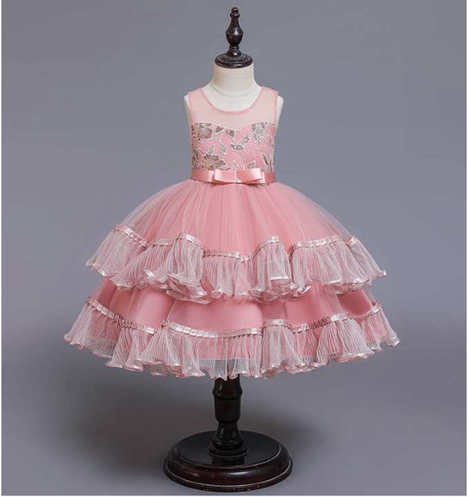 <strong>A08</strong> Wish Hot sale Children Party Dress Kids Frock Wholesale Baby Evening Ruffle Flower Girl Net Dresses