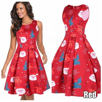 High quality cheap Sleeveless Santa Christmas Dress red Ladies girl Party Dress