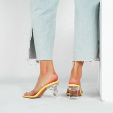 2020 summer custom designs clear transparent block heels <strong>slippers</strong> for ladies fashion sandals sexy mules womens shoes