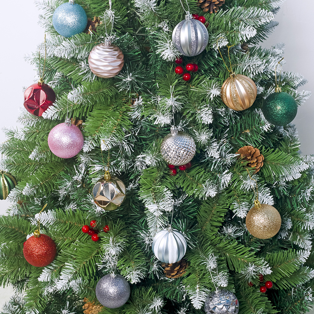 XBC001Trade Assurance New Fashion 6cm Colourful Christmas Balls Christmas Tree Decoration Ball 12 Ppcs Christmas tree ornaments